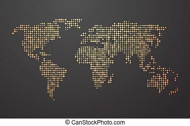 world map yellow orange shapes