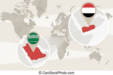 World map zoom on Yemen, Saudi Arabia