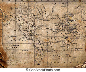 world., mappa, antico