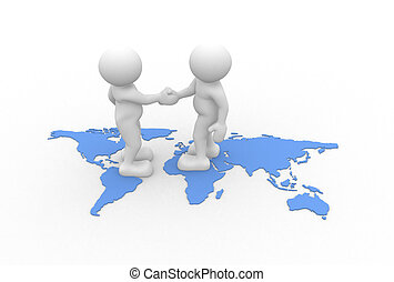 World maps - 3d people - human character - two people ...