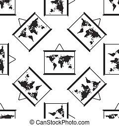 World maps drawing on chalkboard icon seamless pattern on white background.