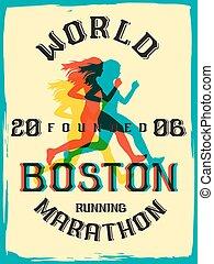 World marathon series retro poster.