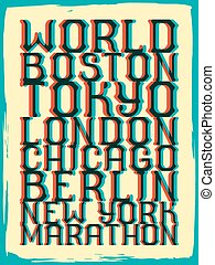 World marathon series retro poster.