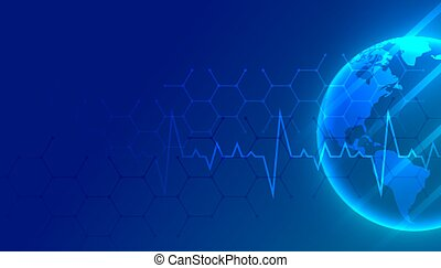 world medical and healthcare blue background with text space