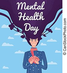World Mental Health Day poster template. Yong woman holding hands in the brain. Vector illustration isolated concept