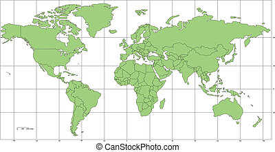 World Mercator Map Projection, Europe centered, editable, individual countries with borders, longitude and latitude grid lines, vector illustration, Green color