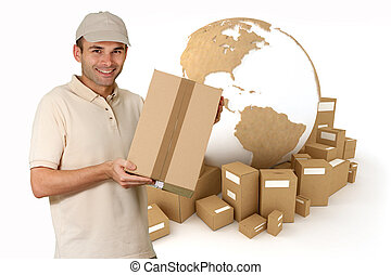 World messenger - Messenger holding a package with a ...