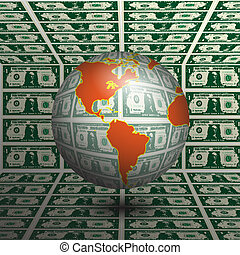World Money - Illustration of the Earth made of money as a ...