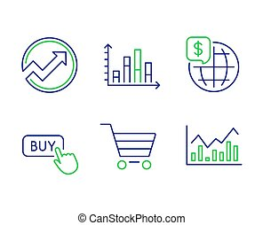 World money, Market sale and Buy button icons set. Audit, Diagram graph and Infochart signs. Vector