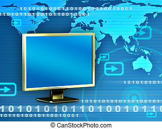 World monitor - High technology background showing a monitor...