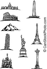 Black and White woodcut style illustration spots of great world buildings.