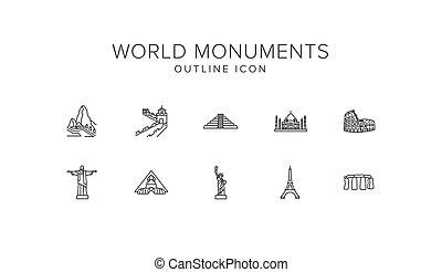 World monuments Line Icon Set