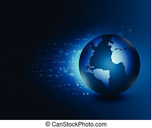 world moving concept on the digital technology background, vector illustration