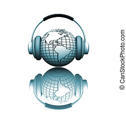 World music - 3D render of a globe with headphones depicting...