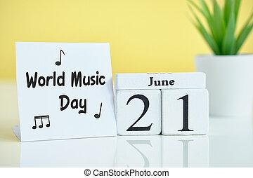 World Music Day 21 twenty first june Month Calendar Concept on Wooden Blocks.