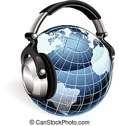 World Music - The world earth globe listening to music on...