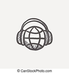 World music sketch icon