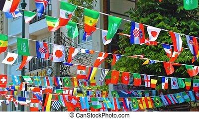 world., national, symbols., drapeaux