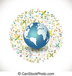 world nature ecology concept with creative geometrical and leaves silhouettes background, vector illustration