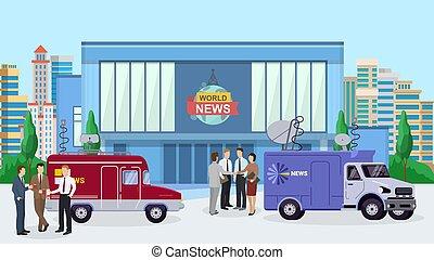 World news building, reporter standing near tv car, truck flat vector illustration. Design interviewer television information department.