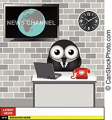 World News Channel presenter with copy space for your own...