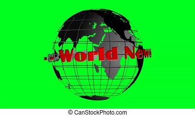 world news lettering and globe rotating