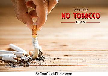 World No Tobacco Day, May 31. STOP Smoking. Close up Man ...