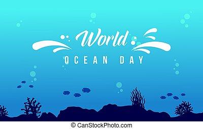 World ocean day background with underwater