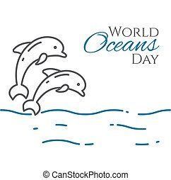 World oceans day banner with couple of dolphins jumping above water line style isolated on white background.