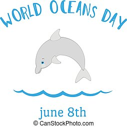 World Oceans Day Vector Background