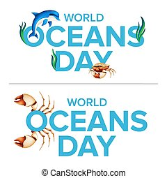 World oceans holiday logo graphic design concept of the ecosystem. Vector illustration with a realistic dolphin, crab claw, coral or seaweed isolated on white background