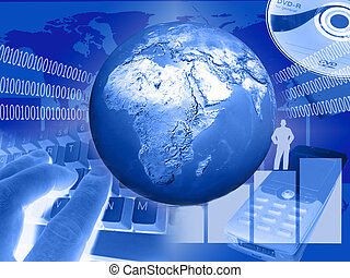 world of communication - world and computer on blue...