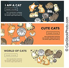 World of cute cats promotional Internet posters set