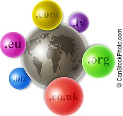 world of domains - world globe with colourful smaller domain...