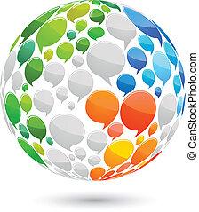 World map made from speech bubbles