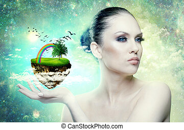 World of Magic. Female portrait with abstract world in hand