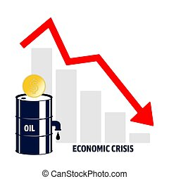 World oil crisis. Graph with down red arrow, halons with oil and dollar sign