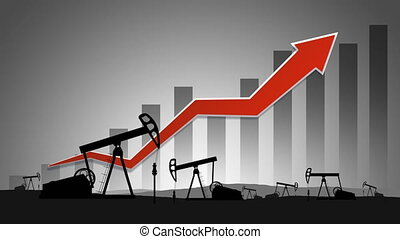 World oil price concept - Oil Pumps on background of bar ...