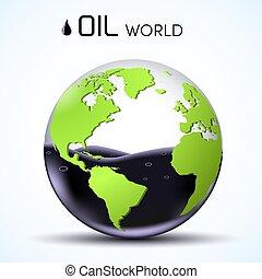 World oil reserves. Glasses 3d world stock background...