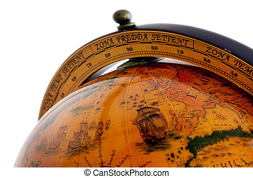 An old globe with the map of the world with a white background
