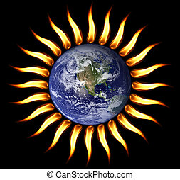 World on fire, our planet is turning into a Sun. (Nasa imagery)