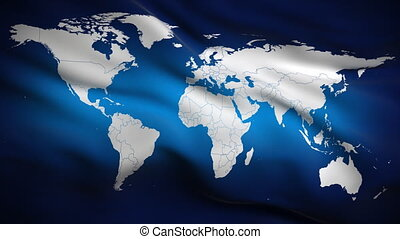 World on Flag HD. Looped. - HD 1080. Highly detailed flag...