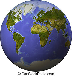 Globe showing the whole world on one side of a sphere. Shaded relief colored according to vegetation. Isolated on white, with clipping path.
