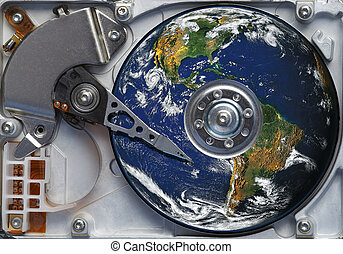 world on the hard disc - Detail of the hard disc and busbar...