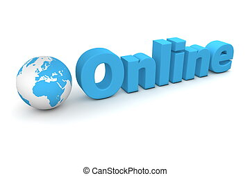 World Online - 3D globe with word online in blue