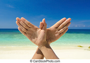 Conceptual hand gesture of Dove, world peace concept. Original hand posing at beach.