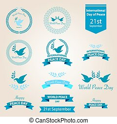 World peace day badges and labels design
