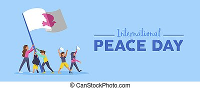 World Peace Day banner of diversity people team