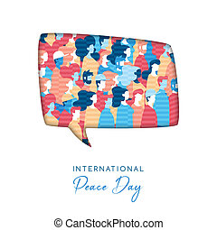 International Peace Day illustration in paper cut style for culture unity around the world. Social bubble cutout with diverse people crowd. EPS10 vector.