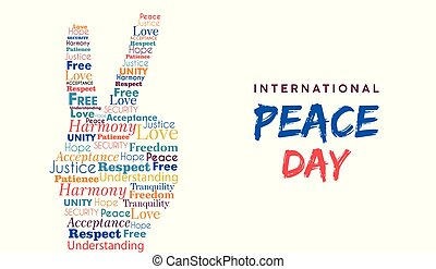 World Peace Day card of hand sign for freedom